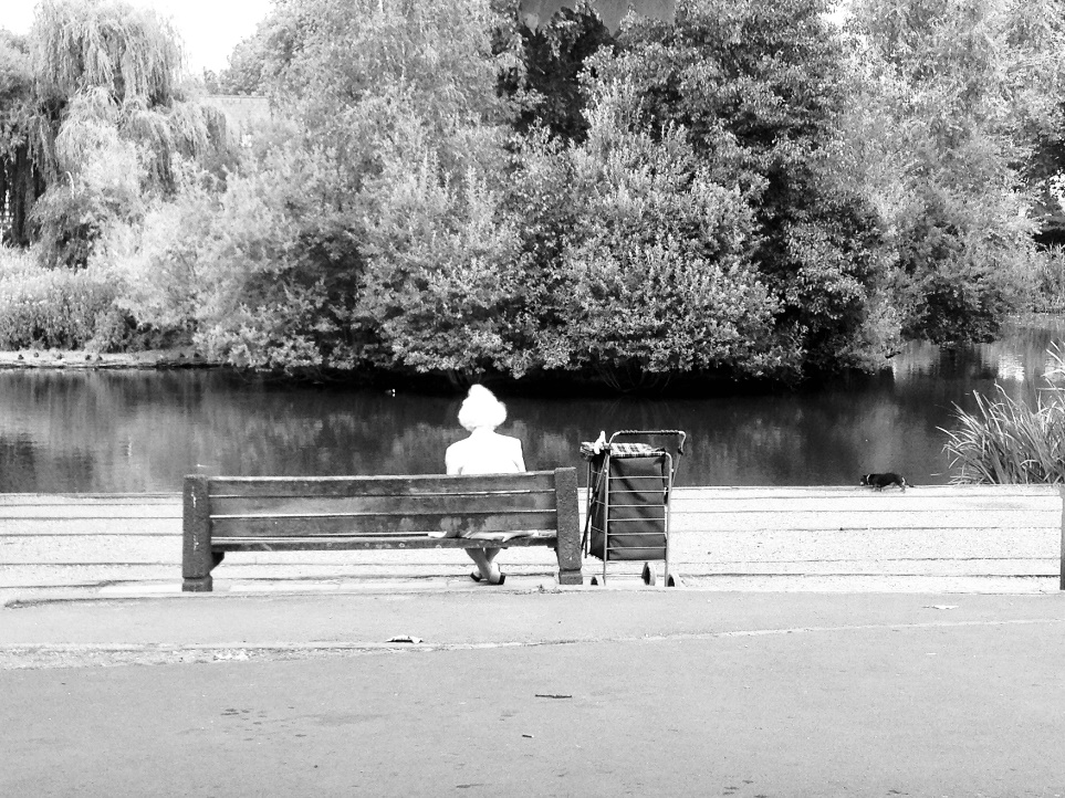 A person sitting on a park bench Description automatically generated